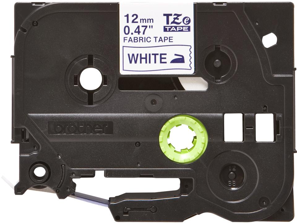 Brotherin alkuperäinen TZeFA3-kangastarranauha, sininen teksti/valkoinen pohja, leveys 12 mm