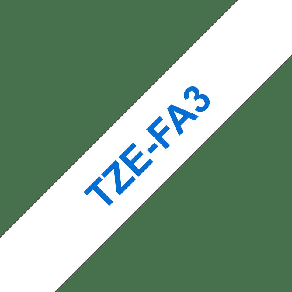 Alkuperäinen Brother TZe-FA3 kangastarranauha, sininen teksti valkoisella pohjalla, leveys 12 mm. 2