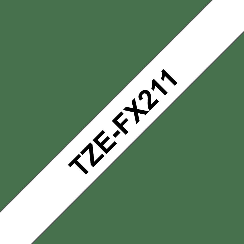 Alkuperäinen Brother TZeFX211 -taipuisa tarranauha – musta teksti valkoisella pohjalla, 6 mm