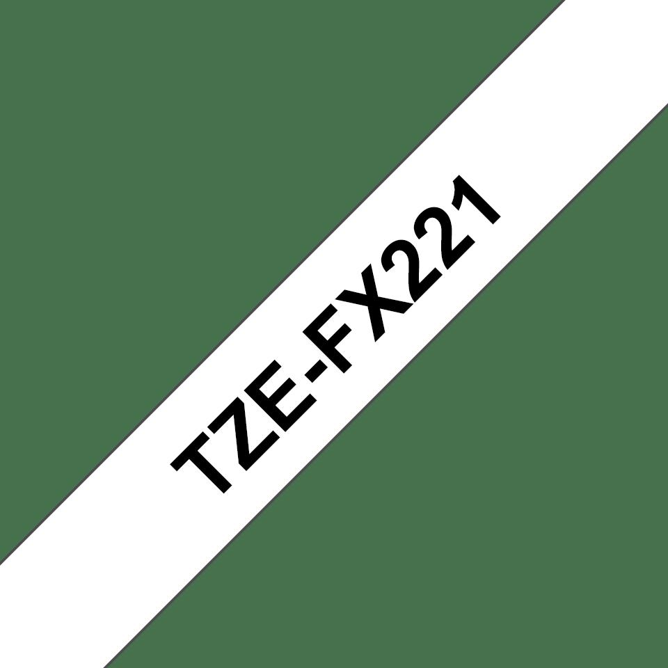Brotherin alkuperäinen taipuisa TZeFX221-tarranauha, musta teksti/valkoinen pohja -  9 mm 3