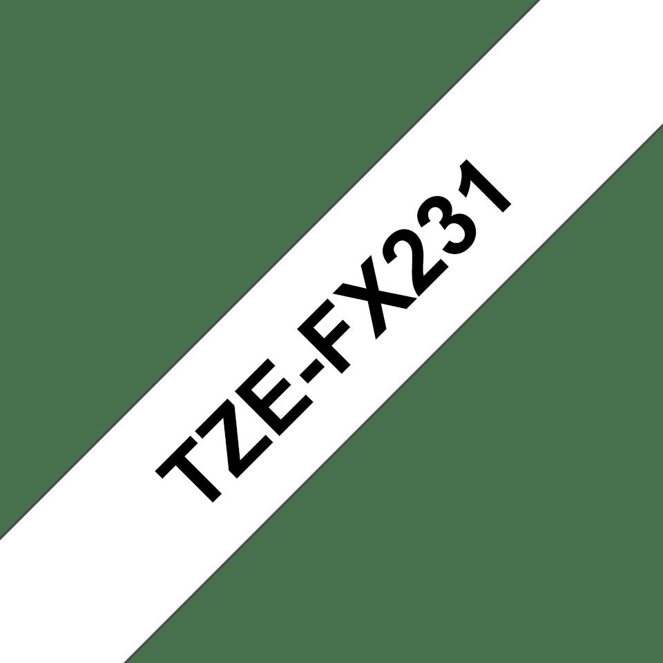 Alkuperäinen Brother TZeFX231 -taipuisa tarranauha – musta teksti valkoisella pohjalla, 12 mm