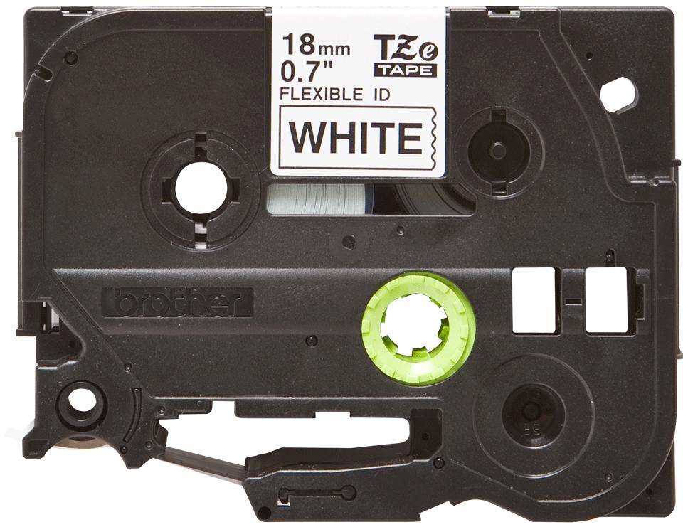 Brotherin alkuperäinen taipuisa TZeFX241-tarranauha, musta teksti/valkoinen pohja - 18 mm