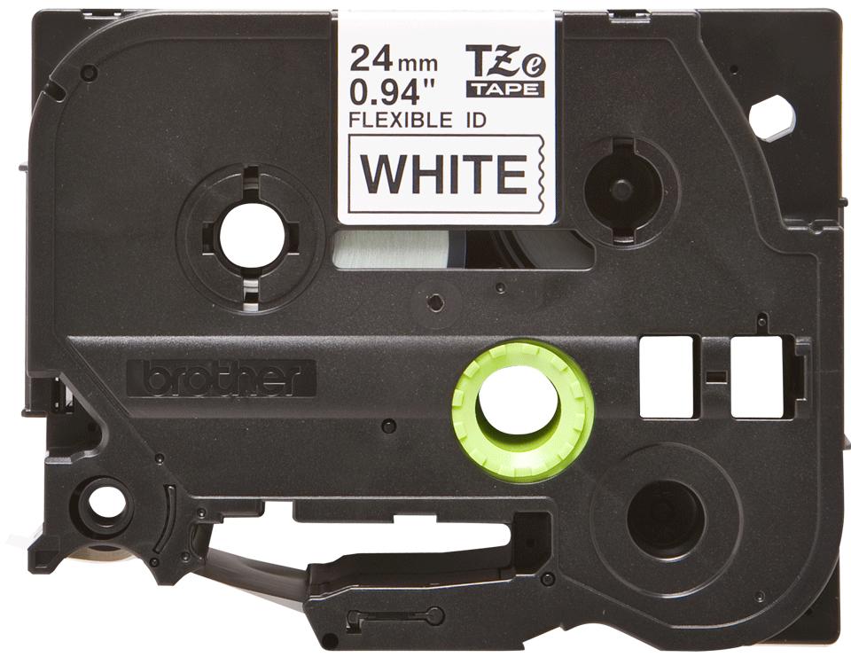 Brotherin alkuperäinen taipuisa TZeFX251-tarranauha, musta teksti/valkoinen pohja - 24 mm