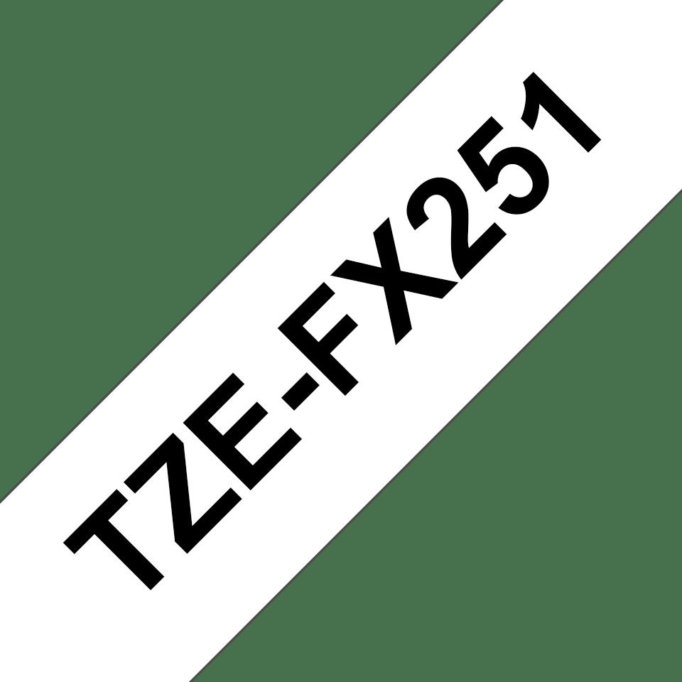 Brotherin alkuperäinen taipuisa TZeFX251-tarranauha, musta teksti/valkoinen pohja - 24 mm 3