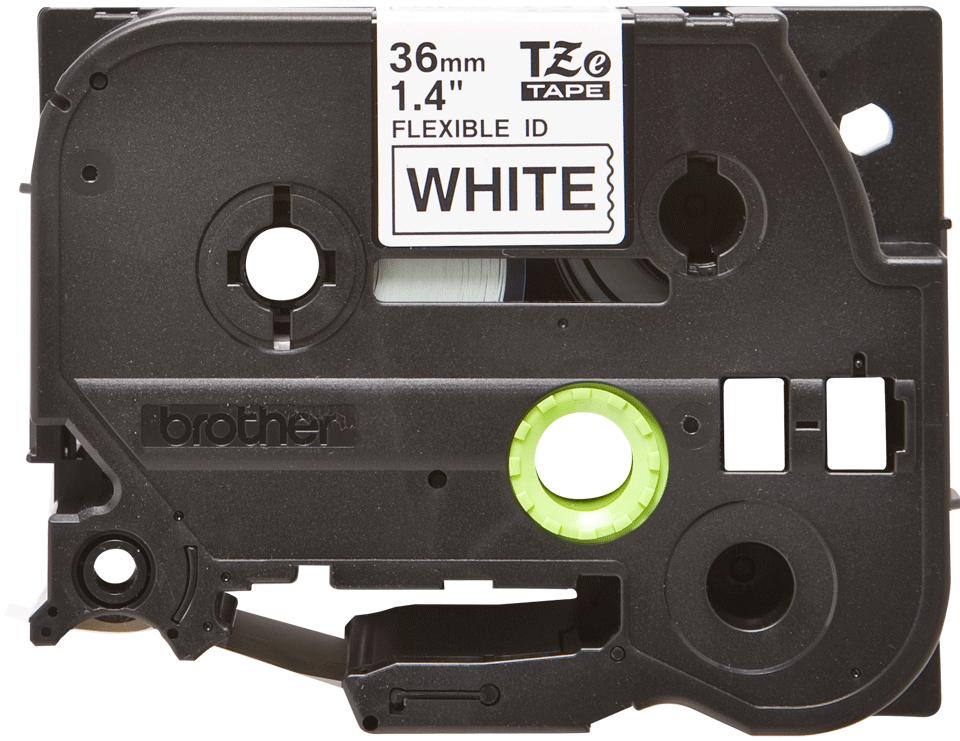 Brotherin alkuperäinen taipuisa TZeFX261-tarranauha, musta teksti/valkoinen pohja - 36 mm
