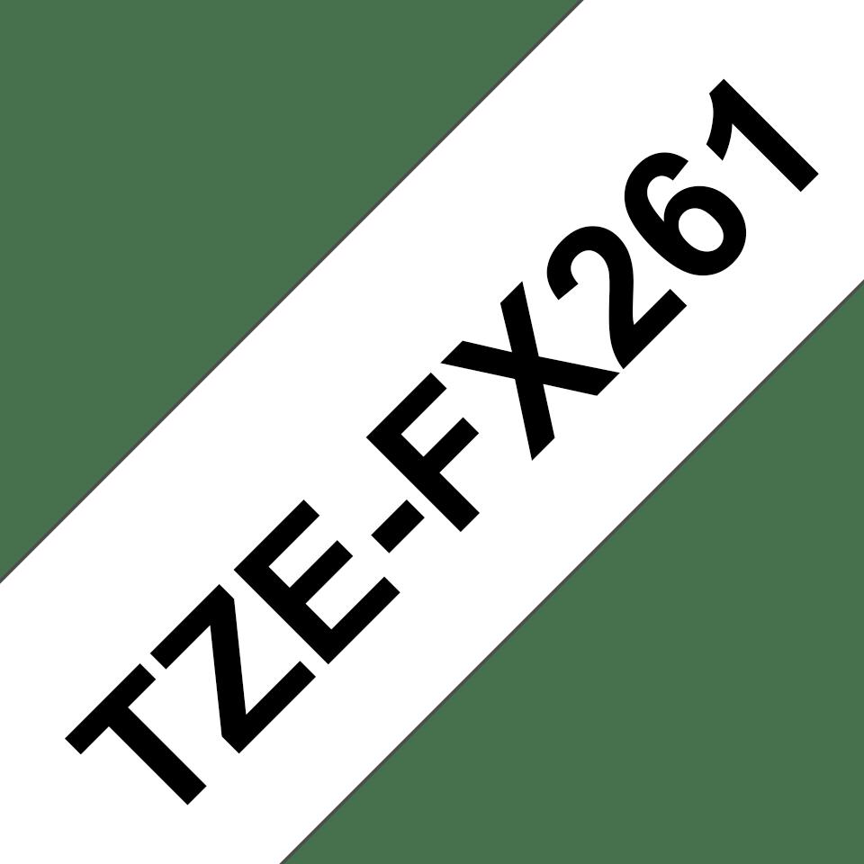 Brotherin alkuperäinen taipuisa TZeFX261-tarranauha, musta teksti/valkoinen pohja - 36 mm 3