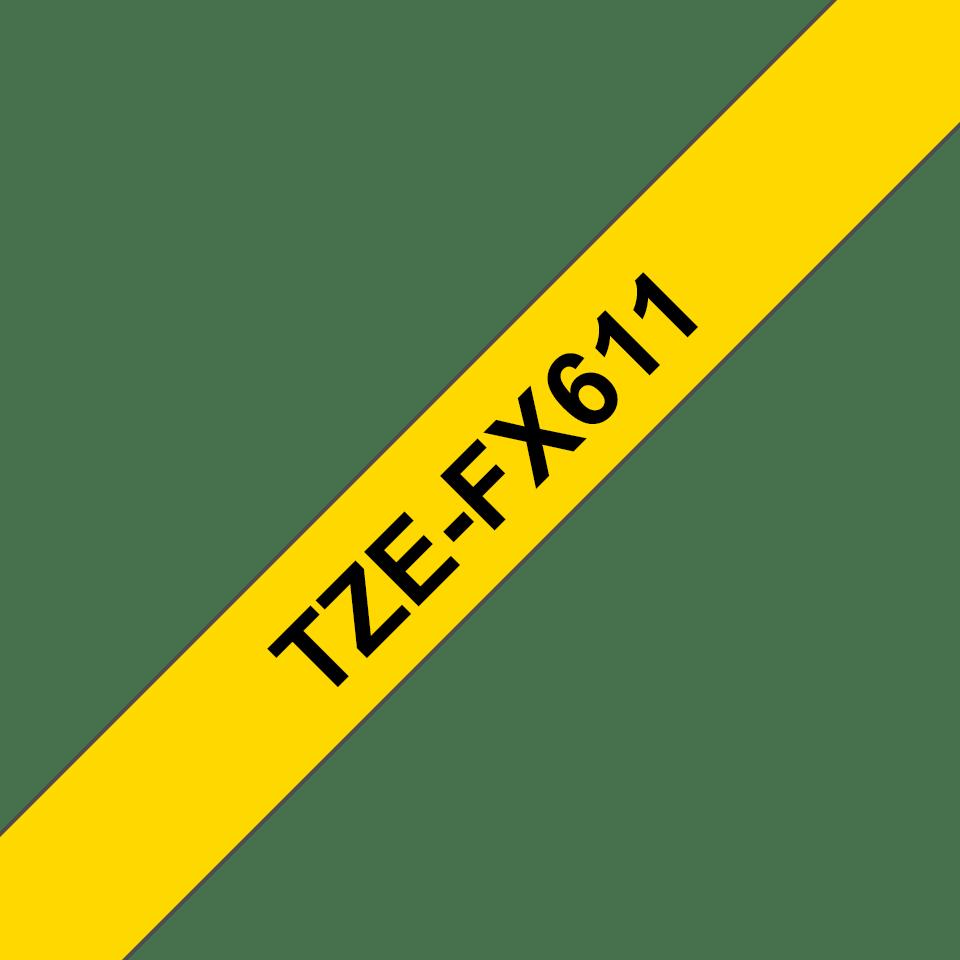 Brotherin alkuperäinen taipuisa TZeFX611-tarranauha, musta teksti/keltainen pohja – 6 mm 3