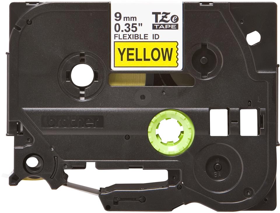 Brotherin alkuperäinen taipuisa TZeFX621-tarranauha, musta teksti/keltainen pohja, 9 mm