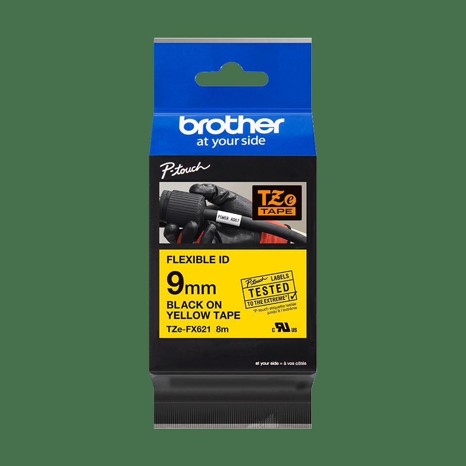 Brotherin alkuperäinen taipuisa TZeFX621-tarranauha, musta teksti/keltainen pohja, 9 mm 2