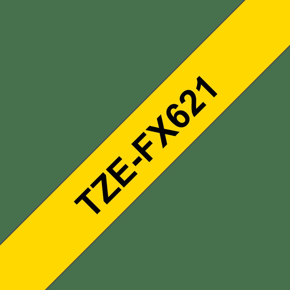 Alkuperäinen Brother TZeFX621 -taipuisa tarranauha – musta teksti keltaisella pohjalla, 9 mm
