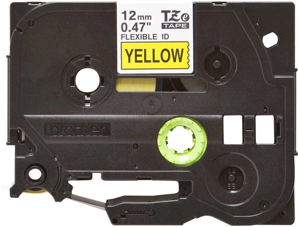Brotherin alkuperäinen taipuisa TZeFX631-tarranauha, musta teksti/keltainen pohja, 12 mm
