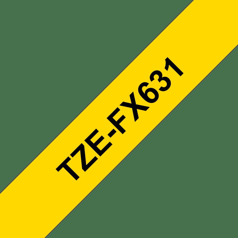Brotherin alkuperäinen taipuisa TZeFX631-tarranauha, musta teksti/keltainen pohja, 12 mm 3