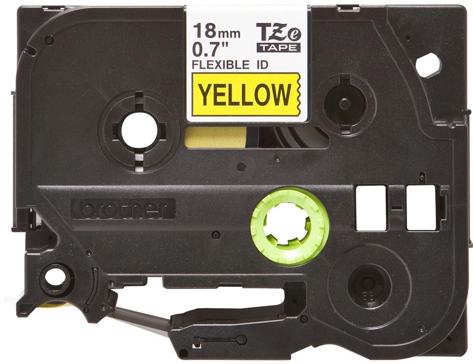 Brotherin alkuperäinen taipuisa TZeFX641-tarranauha, musta teksti/keltainen pohja, 18 mm