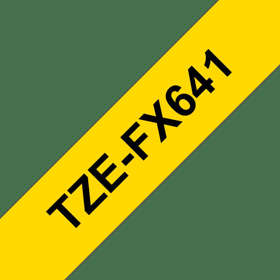 Brotherin alkuperäinen taipuisa TZeFX641-tarranauha, musta teksti/keltainen pohja, 18 mm 3