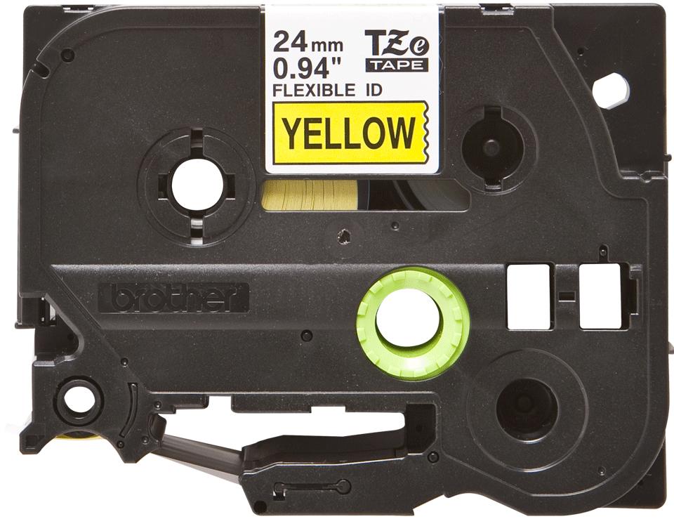 Brotherin alkuperäinen taipuisa TZeFX651-tarranauha, musta teksti/keltainen pohja, 24 mm