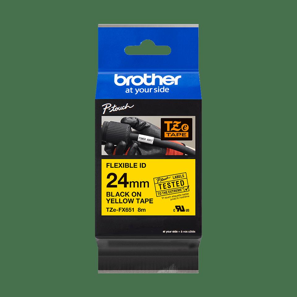Brotherin alkuperäinen taipuisa TZeFX651-tarranauha, musta teksti/keltainen pohja, 24 mm 2