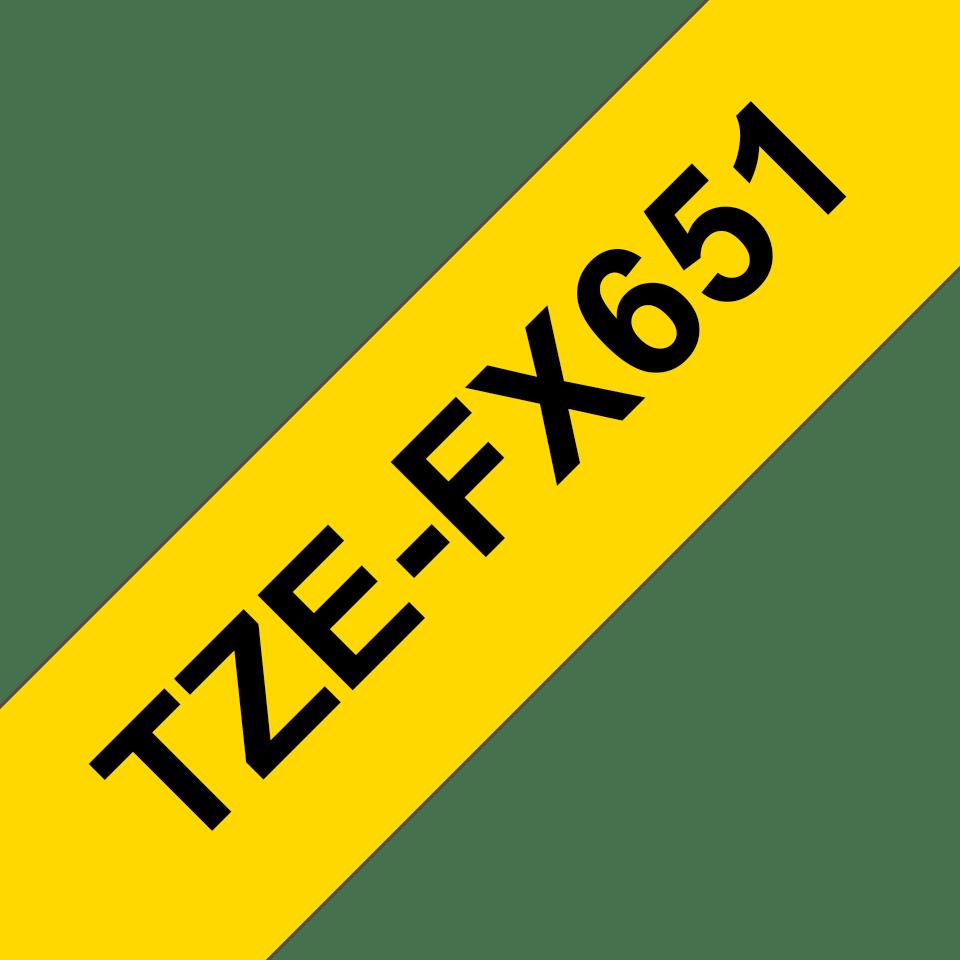 Alkuperäinen taipuisa Brother TZe-FX651 tarranauha, musta teksti keltaisella pohjalla, leveys 24 mm 2
