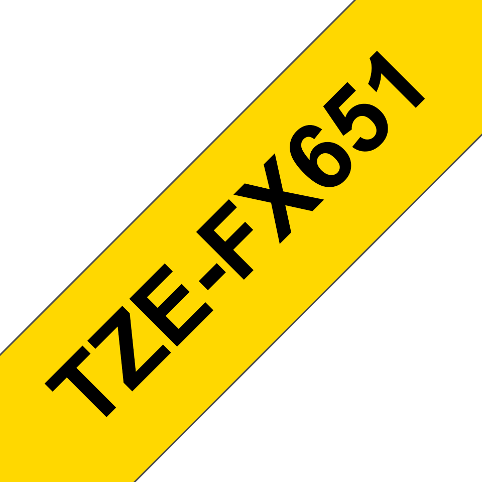 Alkuperäinen Brother TZeFX651 -taipuisa tarranauha – musta teksti keltaisella pohjalla, 24 mm