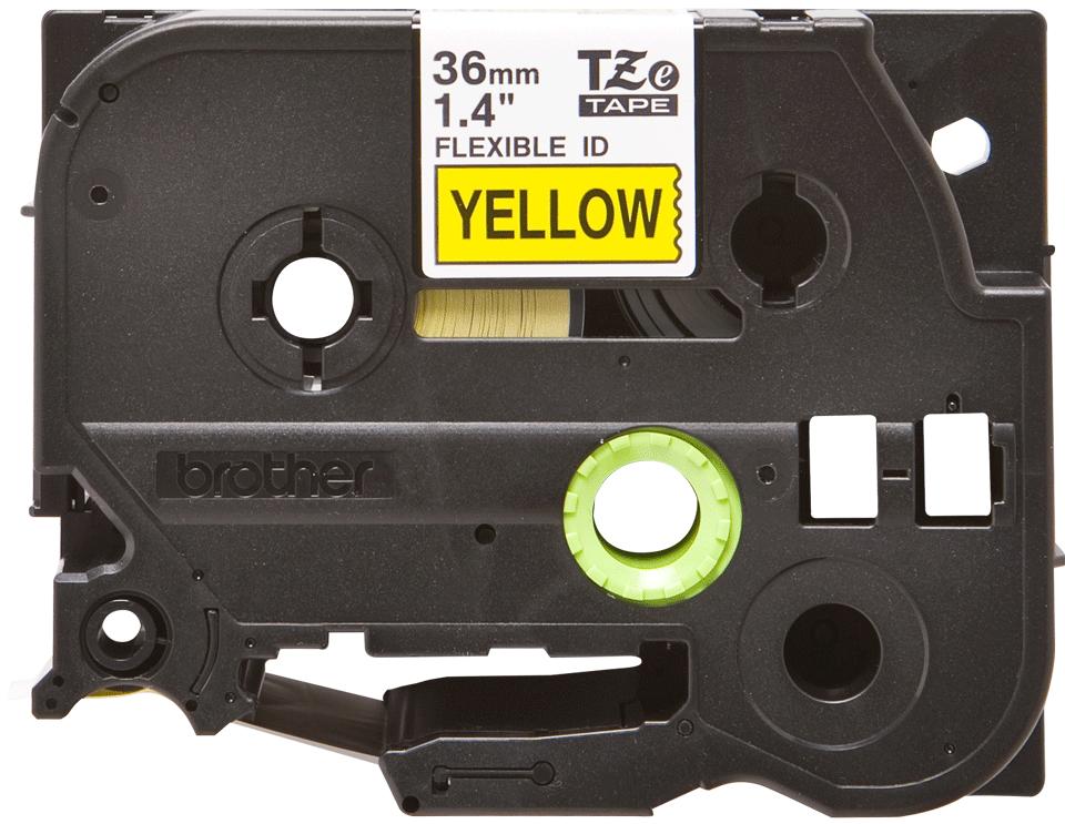 Alkuperäinen Brother  TZeFX661 -taipuisa tarranauha – musta teksti keltaisella pohjalla, 36 mm 2