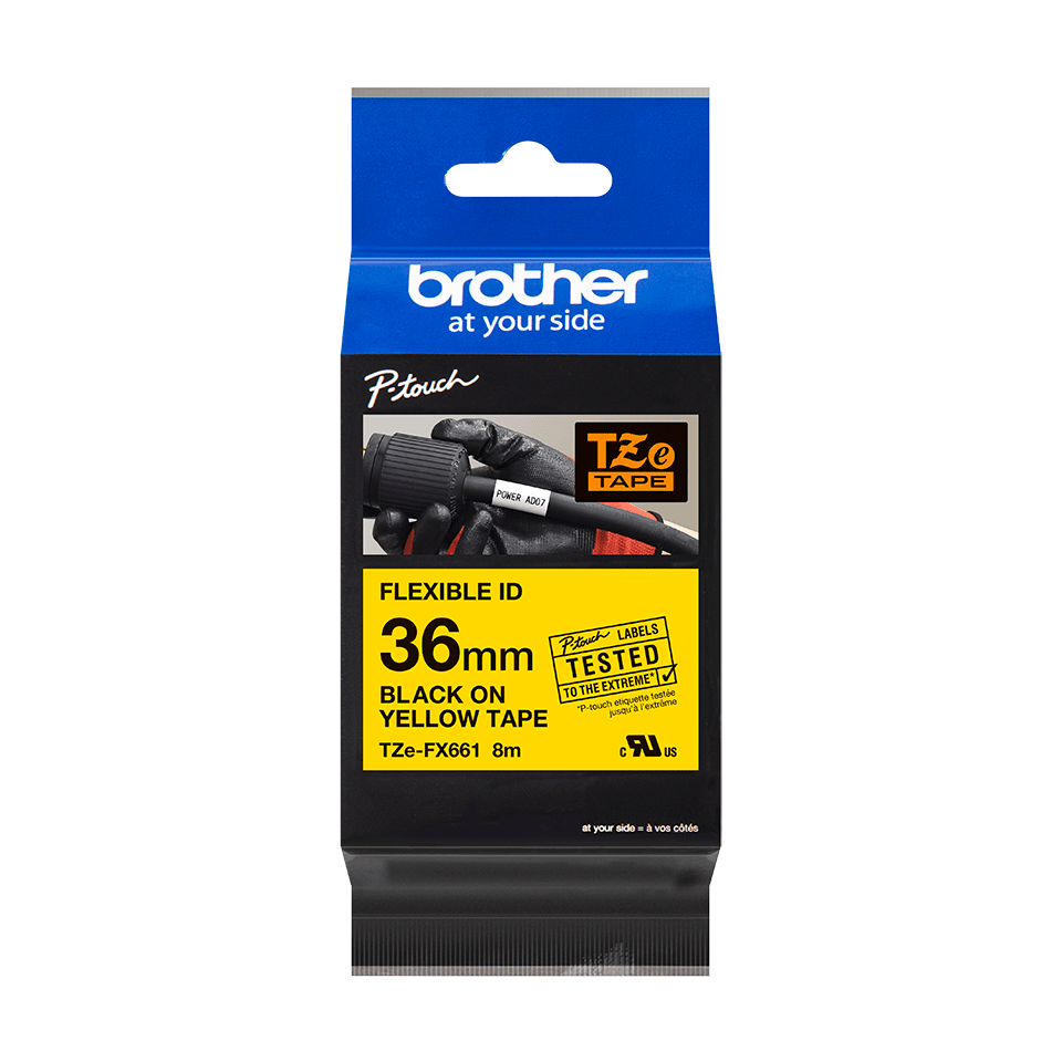 Alkuperäinen Brother  TZeFX661 -taipuisa tarranauha – musta teksti keltaisella pohjalla, 36 mm 3