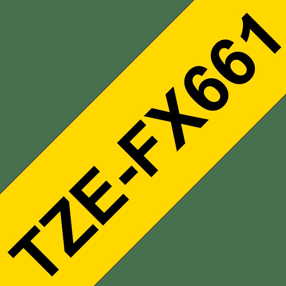 Alkuperäinen Brother  TZeFX661 -taipuisa tarranauha – musta teksti keltaisella pohjalla, 36 mm