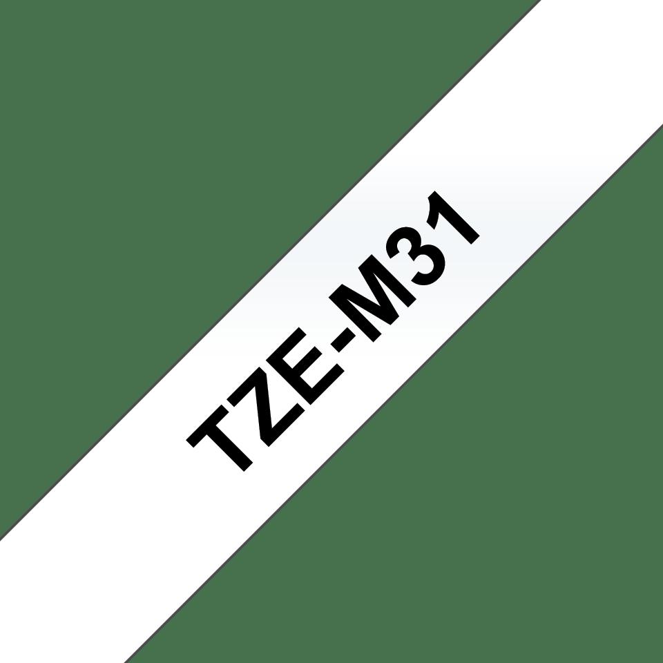 Alkuperäinen Brother TZeM31 -tarranauha –  mattapinta, musta teksti, kirkkaalla pohjalla, leveys 12 mm 3