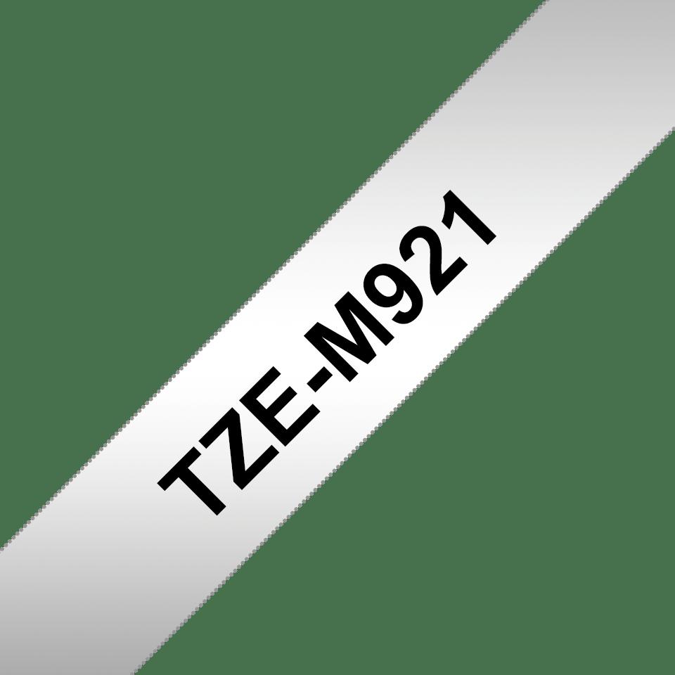Alkuperäinen Brother TZeM921 -mattametallitarra – musta teksti mattahopealla pohjalla, 9 mm 3