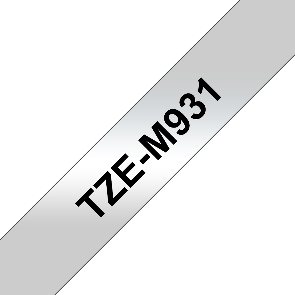 Alkuperäinen Brother TZeM931 -mattametallitarranauha, musta teksti mattahopea pohja, leveys 12 mm.  3