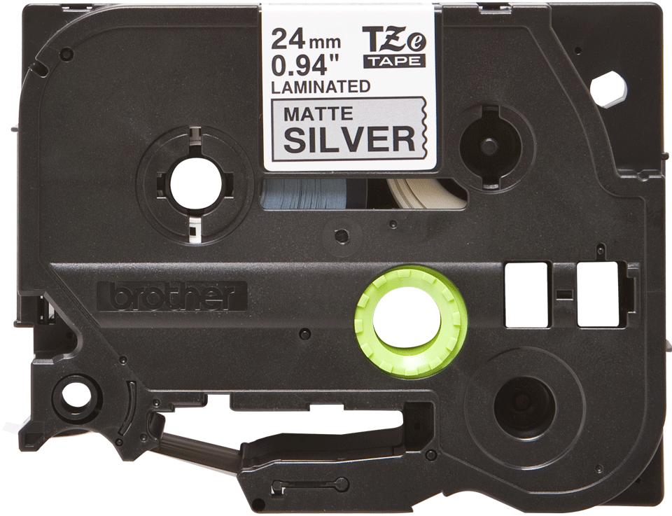 Alkuperäinen Brother TZeM951-mattametallitarra, musta teksti mattahopealla pohja, leveys 24 mm
