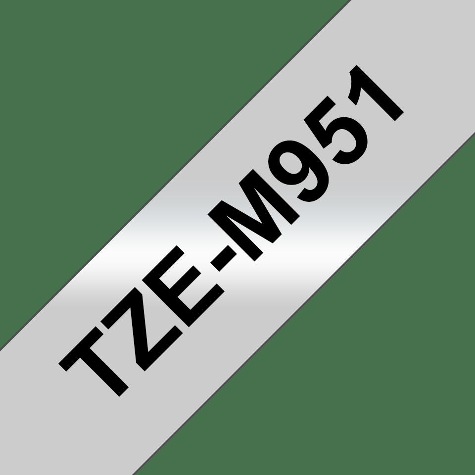 Alkuperäinen Brother TZeM951-mattametallitarra, musta teksti mattahopealla pohja, leveys 24 mm 3