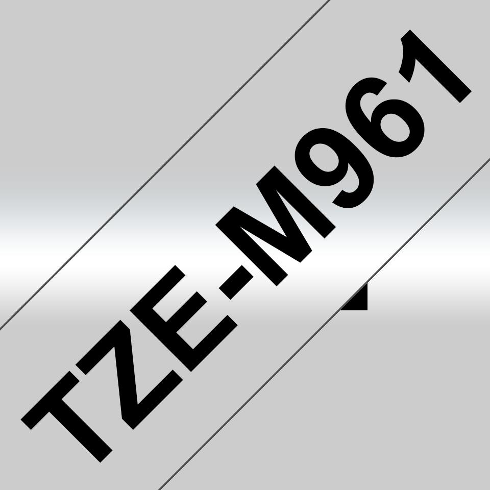 Alkuperäinen Brother TZeM961 -mattametallitarra – musta teksti mattahopealla pohjalla, 36 mm