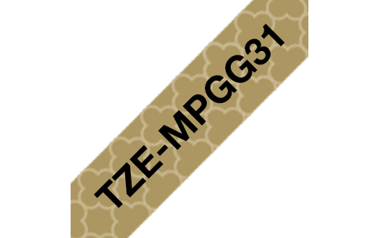Alkuperäinen Brother TZeMPGG31 -tarranauha – musta teksti/kullanvärinen geometrisesti kuvioitu pohja, 12 mm