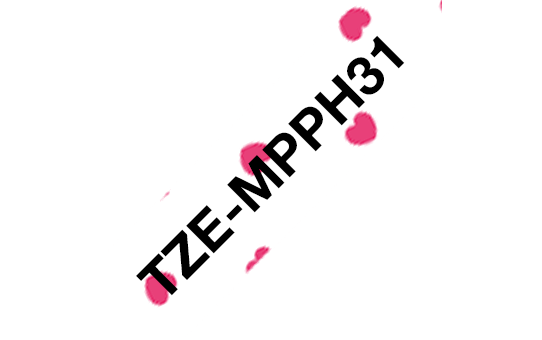 Alkuperäinen Brother TZeMPPH31 -tarranauha, leveys 12 mm, musta teksti valkoisella pohjalla, jossa on pinkkejä sydämiä.  3