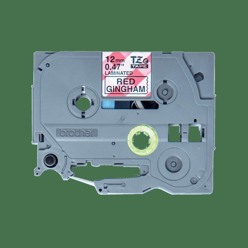 Alkuperäinen Brother TZeMPRG31 -tarranauha – musta teksti/punavalkoruutu pohja, 12 mm 2