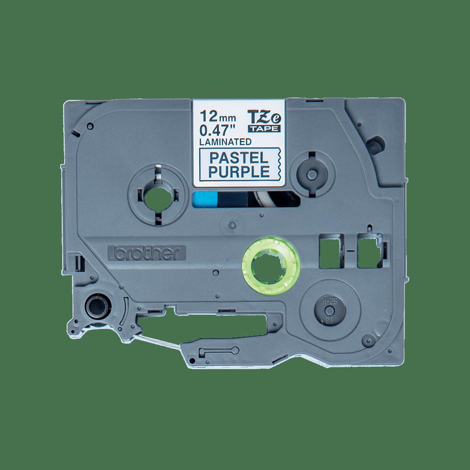 Alkuperäinen Brother TZeMQF31 -tarranauha – musta teksti vaaleanliilalla pohjalla, leveys 12 mm