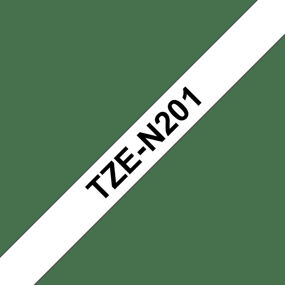 Alkuperäinen Brother TZeN201 -tarranauha – musta teksti valkoisella pohjalla, 3,5 mm