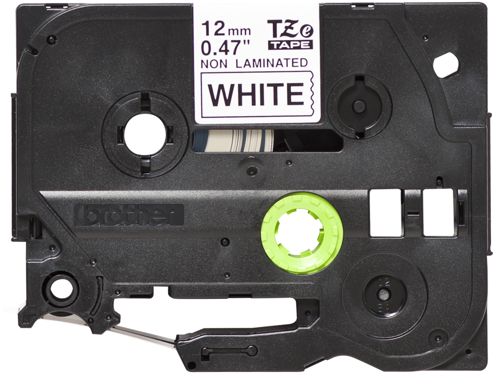 Alkuperäinen laminoimaton Brother TZe-N231 P-touch -tarranauha, musta teksti valkoisella pohjalla, leveys 12 mm.