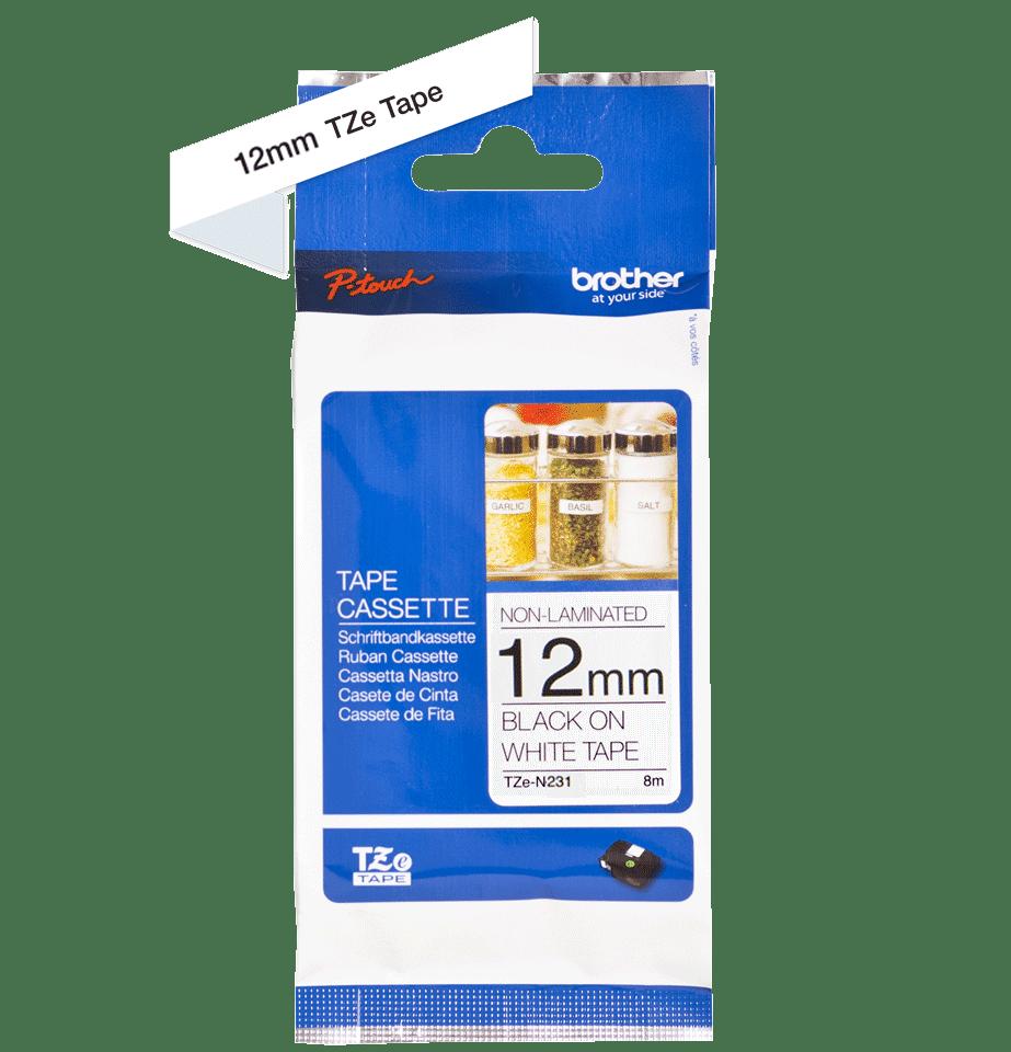 Alkuperäinen Brother TZeN231 -tarranauha – musta teksti valkoisella pohjalla, 12 mm.  3