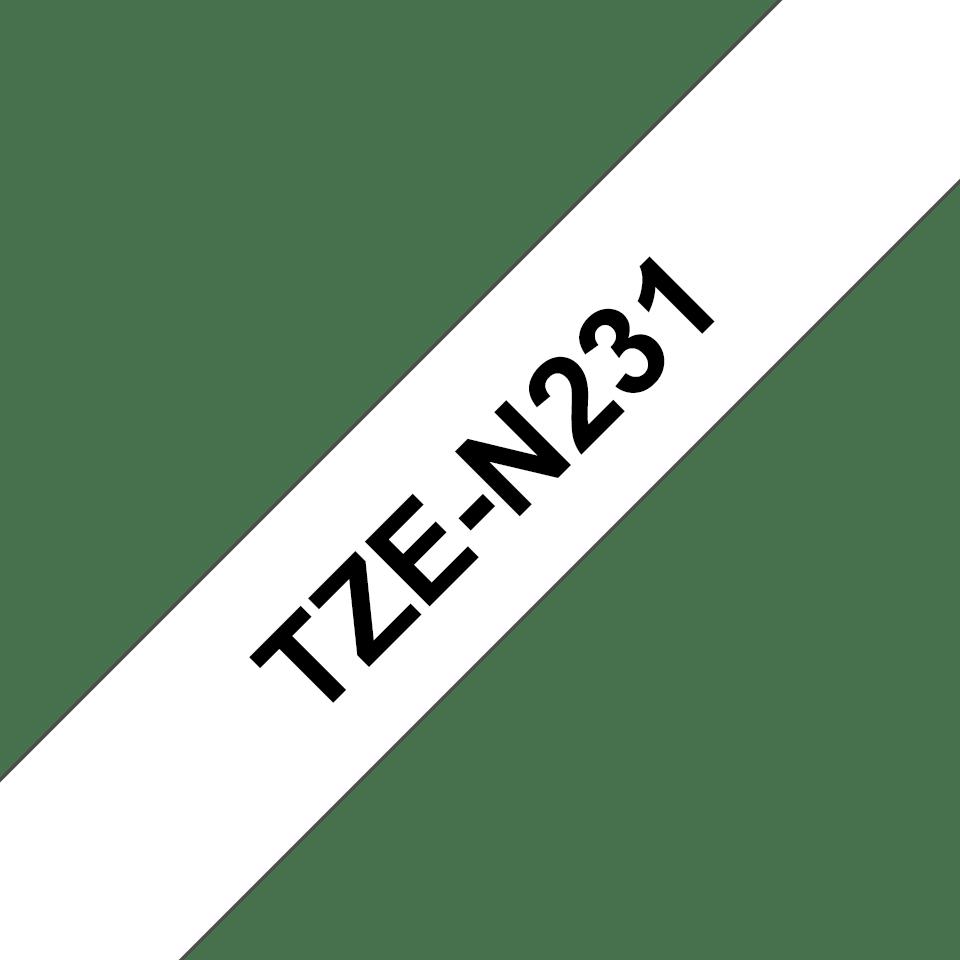 Alkuperäinen laminoimaton Brother TZe-N231 P-touch -tarranauha, musta teksti valkoisella pohjalla, leveys 12 mm.  3