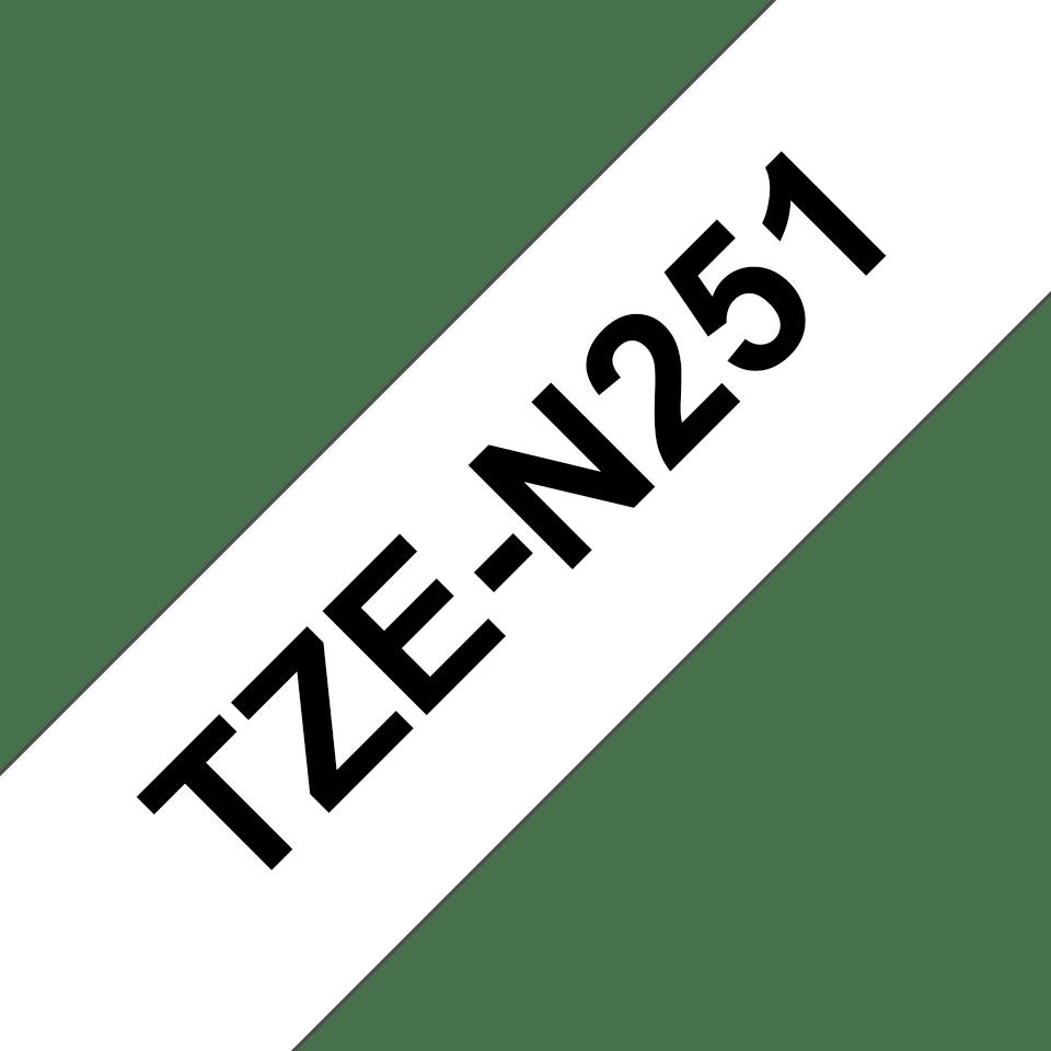 Alkuperäinen Brother TZeN251 -tarranauha – musta teksti valkoisella pohjalla, 24 mm