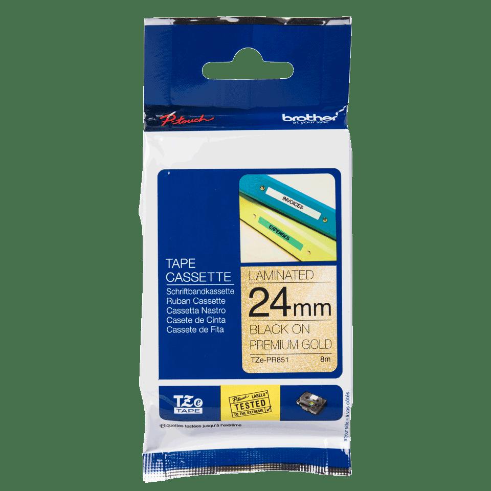 Alkuperäinen Brother TZePR851 -premium tarranauha – musta teksti kullanvärisellä pohjalla, 24 mm 3