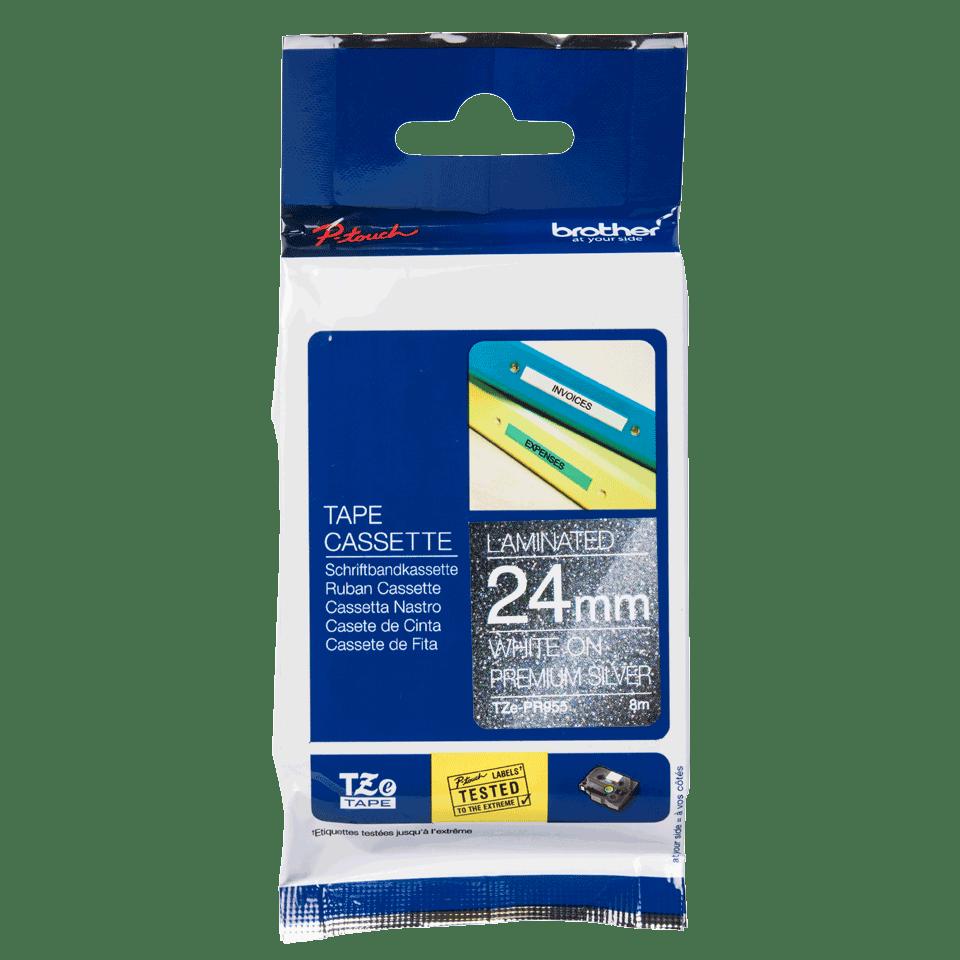 Alkuperäinen Brother TZePR955 -premium tarranauha – valkoinen teksti hopeisella pohjalla, 24 mm 3
