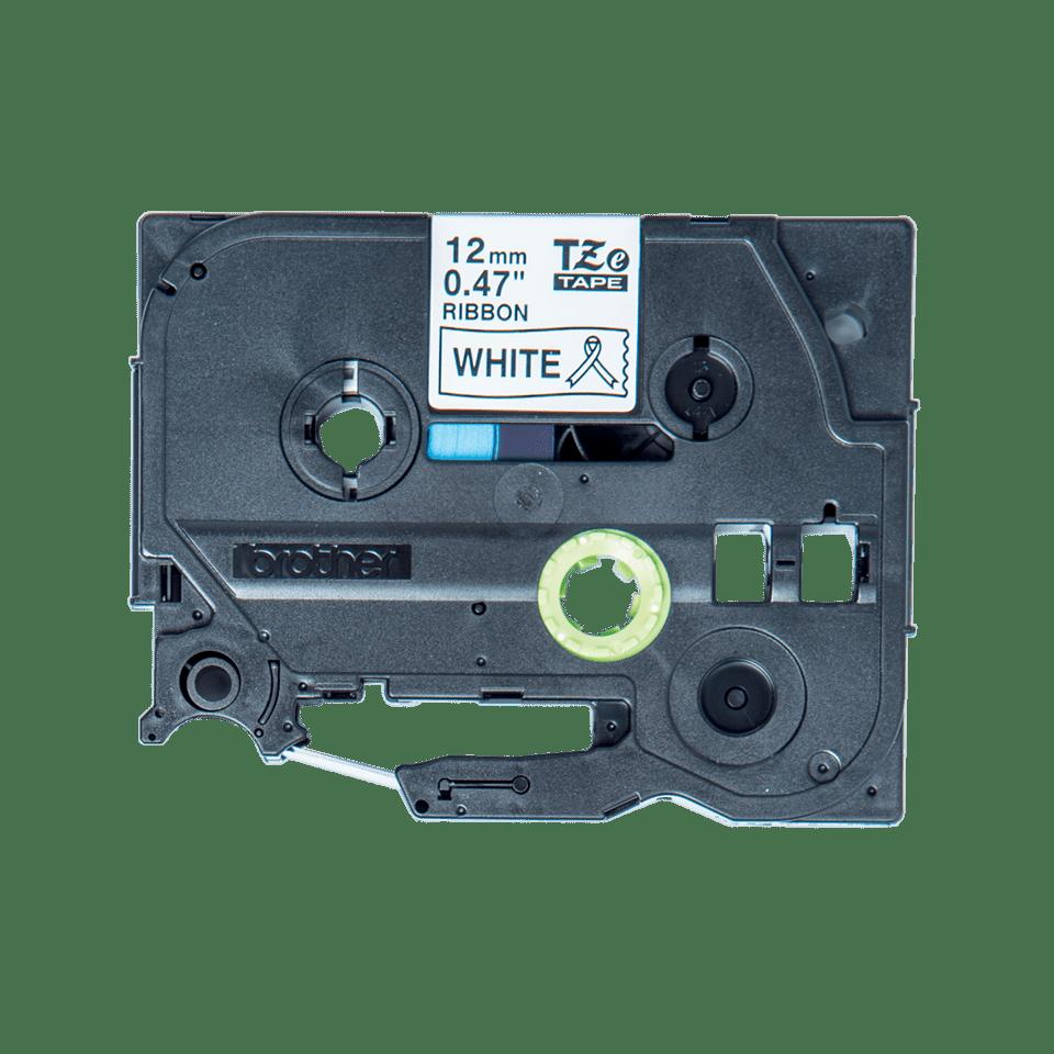 Alkuperäinen Brother TZeR231 -satiininauha – musta teksti valkoinen nauha, 12 mm