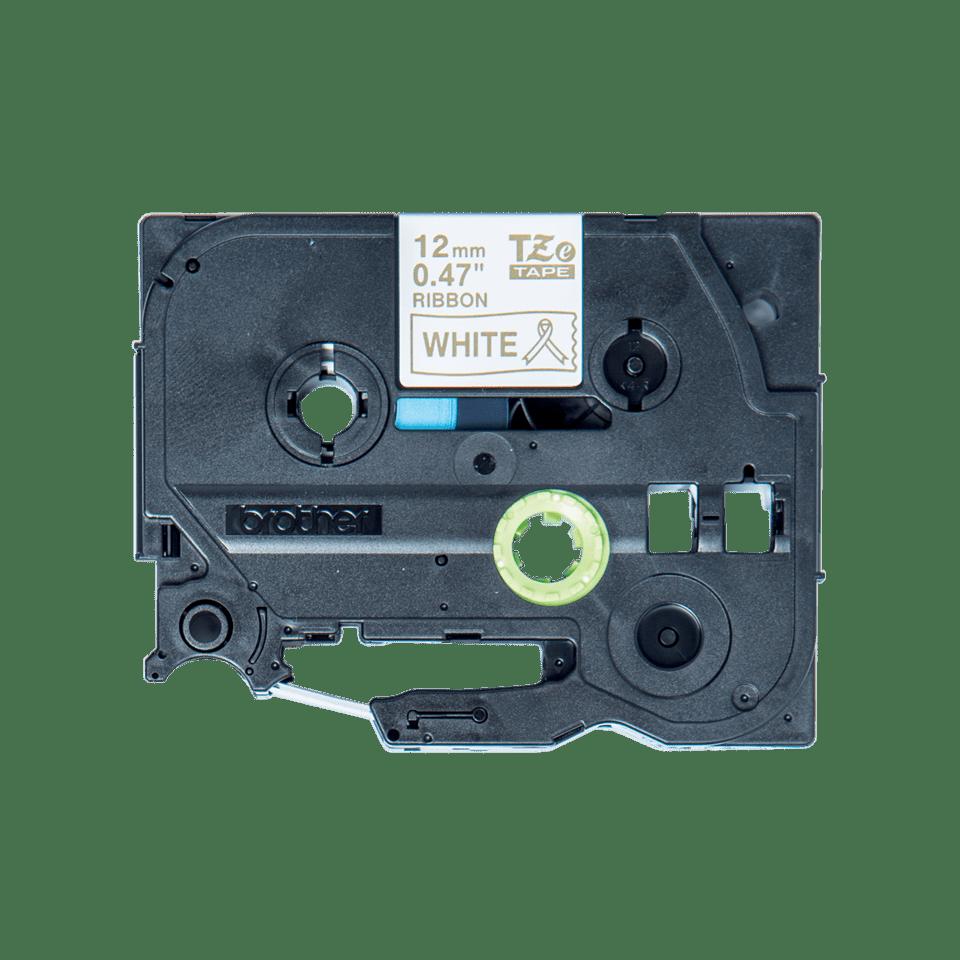 Alkuperäinen Brother TZeR234 -satiininauha – kultainen teksti valkoisella pohjalla, leveys 12 mm