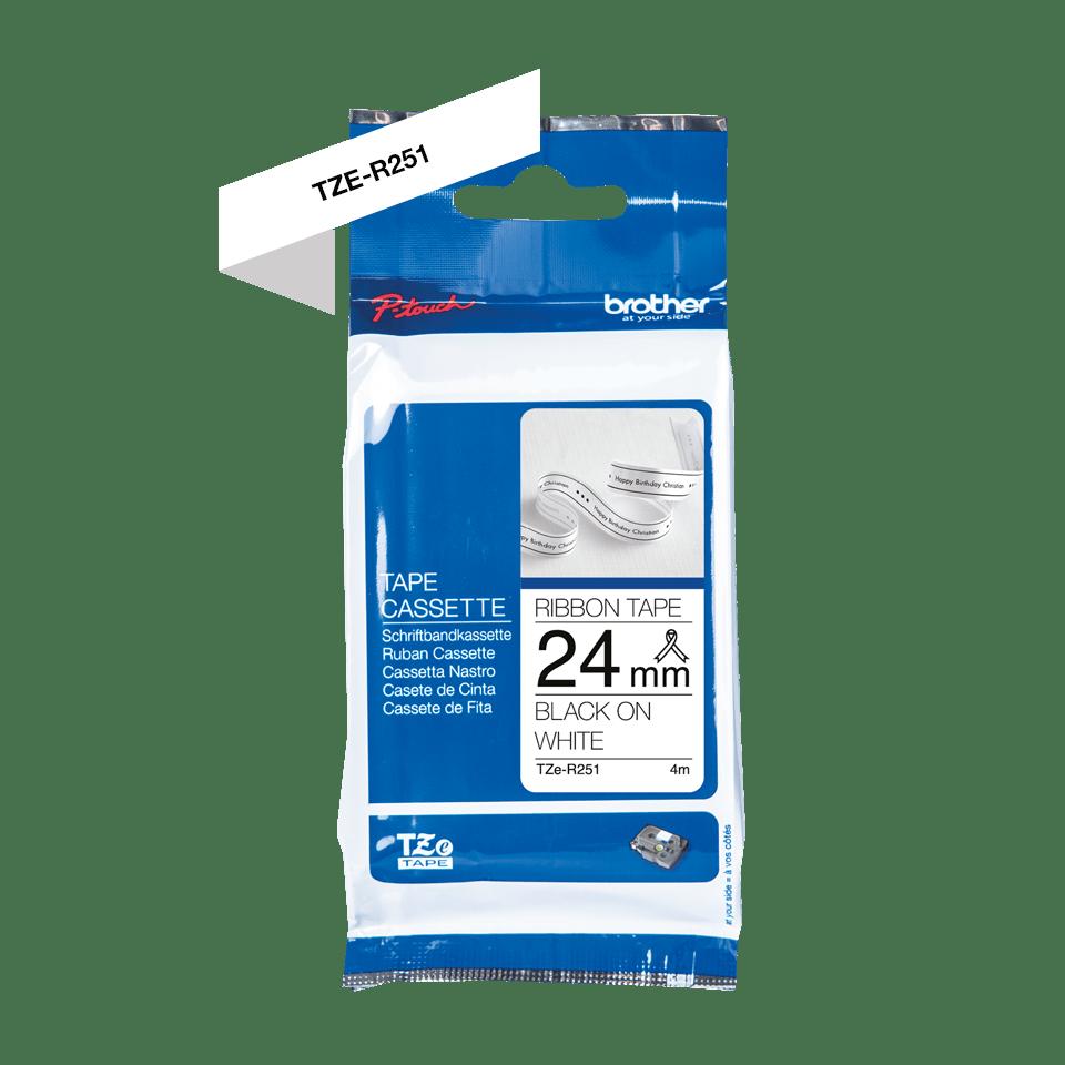 Alkuperäinen Brother TZeR251 -satiininauha – musta teksti valkoisella nauhalla, 24 mm 5