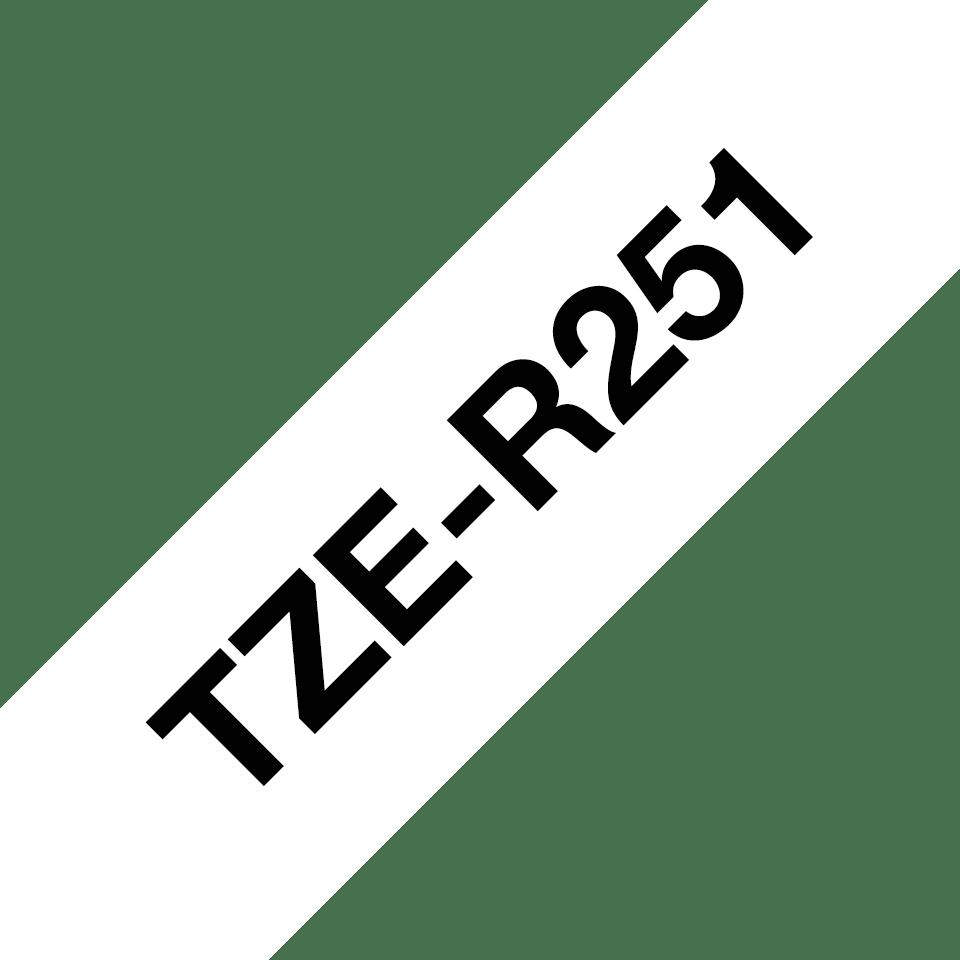 Alkuperäinen Brother TZeR251 -satiininauha – musta teksti valkoisella nauhalla, 24 mm 6