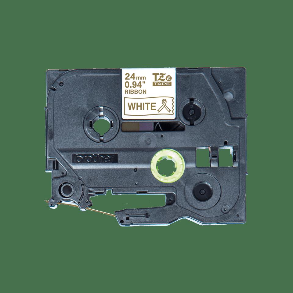 Alkuperäinen Brother TZeR254 -satiininauha – kullanvärinen teksti valkoisella nauhalla, 24 mm 4