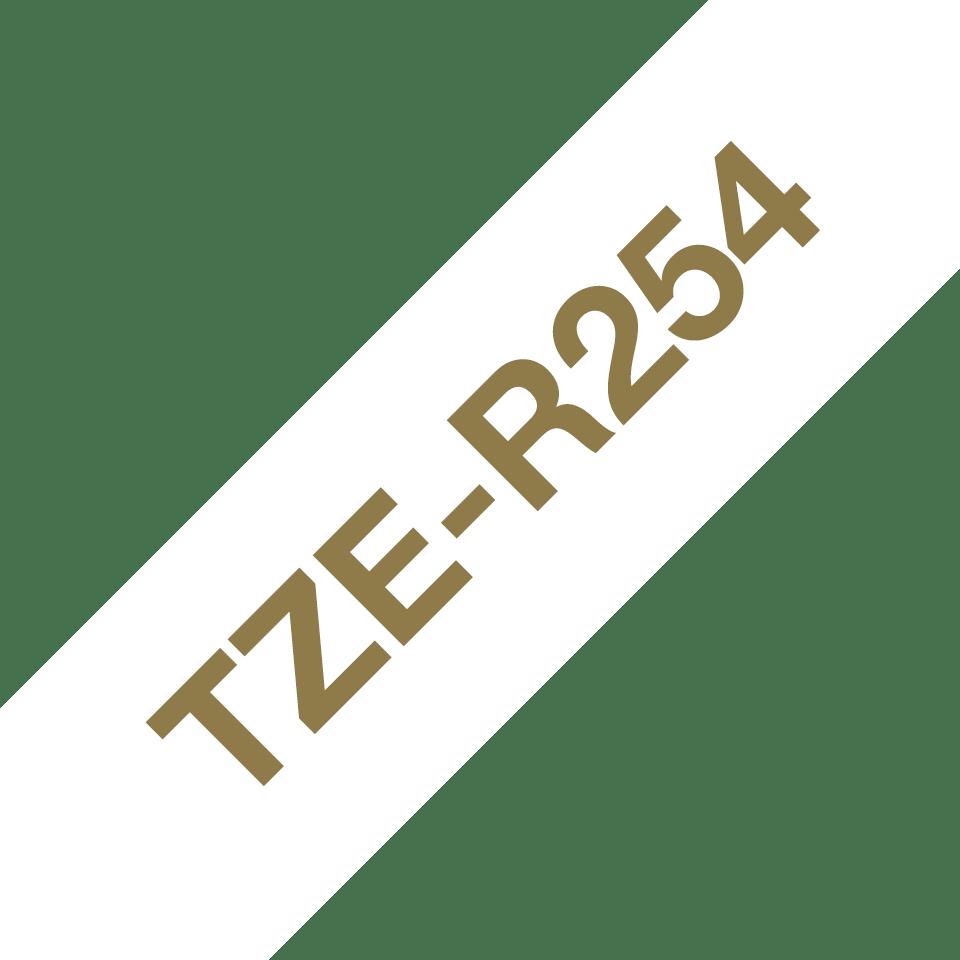 Alkuperäinen Brother TZeR254 -satiininauha – kullanvärinen teksti valkoisella nauhalla, 24 mm 6