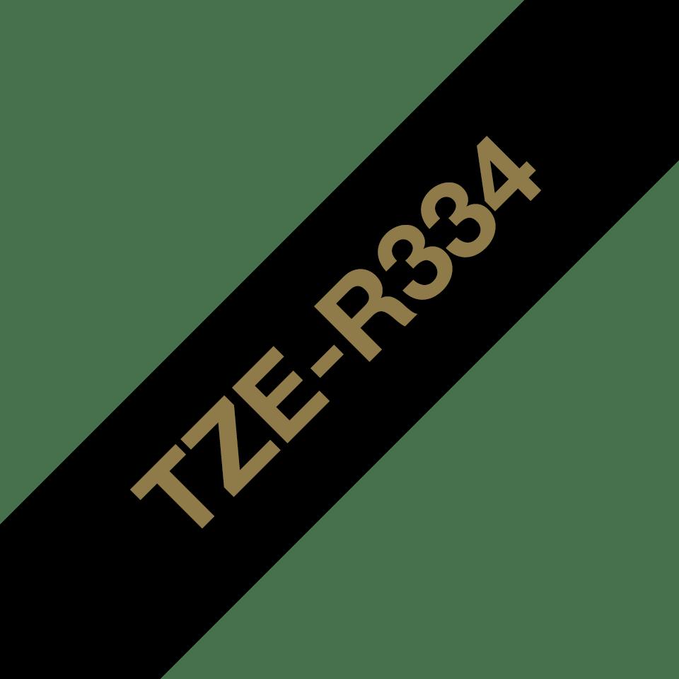 Alkuperäinen Brother TZeR334-satiininauha - kullanvärinen teksti mustalla nauhalla, 12 mm  6