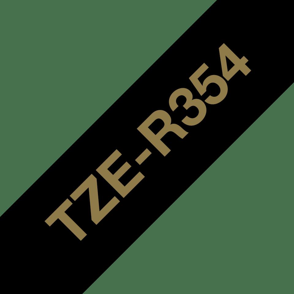 Alkuperäinen Brother TZeR354 -satiininauha – Kullanvärinen teksti mustalla nauhalla, leveys 24 mm 6